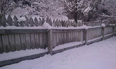 Snow Along A Fence Art Print by Jeannette Brown