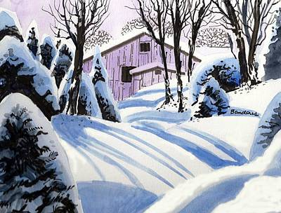 Art Print featuring the painting Snow And Shadows by Terry Banderas