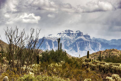 The Supes Photograph - Snow Atop The Superstitions by Saija  Lehtonen