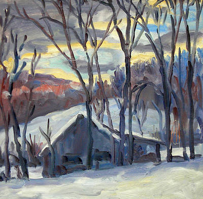 Daily Painters Painting - Snow Barn Berkshires by Thor Wickstrom