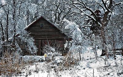 Snow Covered Barn Art Print