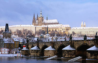 Snow Covered Prague Castle, Charles Bridge And Suburb Of Mala Strana Art Print by Richard Nebesky