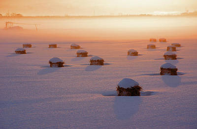 People On Ice Photograph - Snow-covered Rice Fields by The landscape of regional cities in Japan.