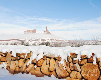 Snow Covered Rock Wall Art Print by Thom Gourley/Flatbread Images, LLC