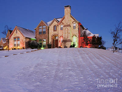 Snow Covered Yard And Stone House Art Print by Jeremy Woodhouse