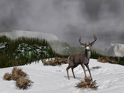 Digital Art - Snow Deer by Walter Colvin