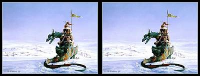 Conversion Digital Art - Snow Dragon - Gently Cross Your Eyes And Focus On The Middle Image by Brian Wallace