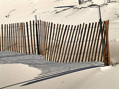 Snow Fence Shadows Art Print by Richard Gregurich