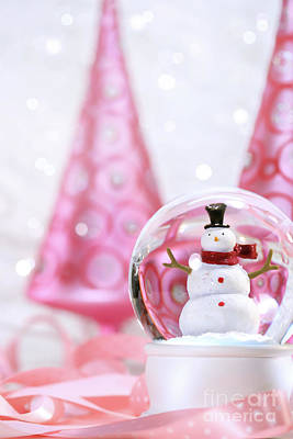 Snow Globe With Pink  Trees Art Print