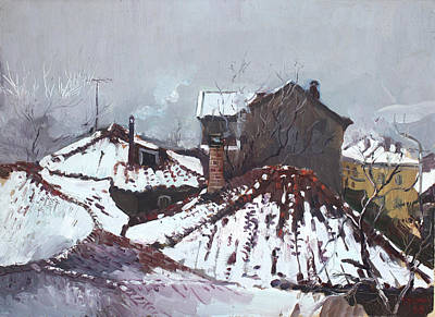 Roof Painting - Snow In Elbasan by Ylli Haruni