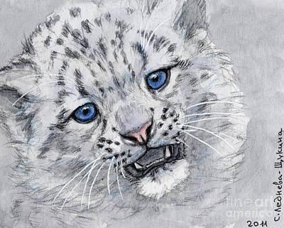 Chatting Mixed Media - Snow Leopard Cub by Svetlana Ledneva-Schukina