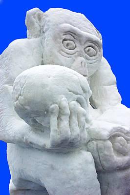 Michigan Frankenmuth Photograph - Snow Monkey Studies Man by LeeAnn McLaneGoetz McLaneGoetzStudioLLCcom