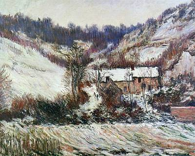 Snow Near Falaise Art Print by Claude Monet