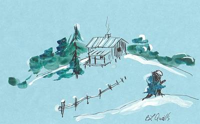 Painting - Snow On The Cabin by B L Qualls