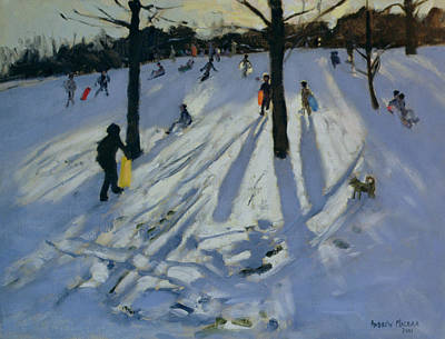 Winter Landscape Painting - Snow Rykneld Park Derby by Andrew Macara
