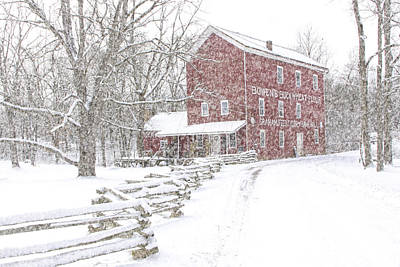 Split Rail Fence Photograph - Snow Storm At Bowen's Mill by Randall Nyhof