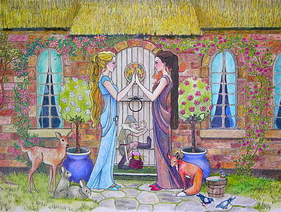 Drawing - Snow White And Rose Red by Robin Birrell