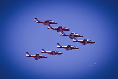 Airshow Flight Photograph - Snowbird V Formation by DigiArt Diaries by Vicky B Fuller