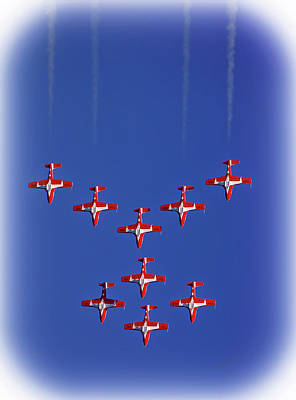 Airshow Flight Photograph - Snowbirds Above The Beach by DigiArt Diaries by Vicky B Fuller
