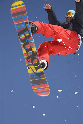 Snowboard Jumping On Vogel Mountain Art Print by Ian Middleton