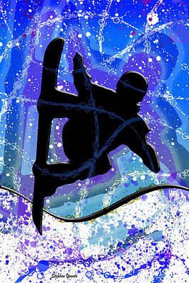 Digital Art - Snowboarder by Stephen Younts