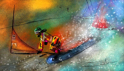 Extreme Sports Painting - Snowboarding 02 by Miki De Goodaboom