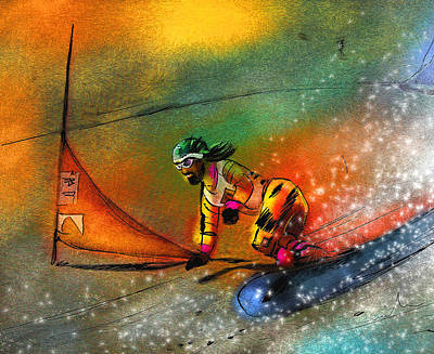 Extreme Sports Painting - Snowboarding 03 by Miki De Goodaboom