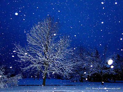 Mixed Media - Snowing In The Sapphire Hour 1 by Bruce Ritchie