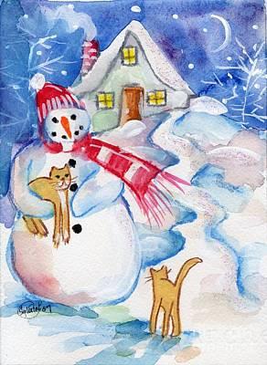 Snowman And Kitten Art Print by Sylvia Pimental