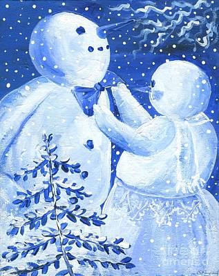 Snowwoman Painting - Snowman And Lady  by Sylvia Pimental