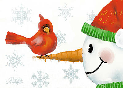 Xmas Cards Digital Art - Snowman And The Cardinal by Arline Wagner