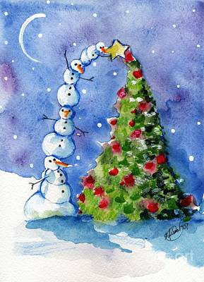 Snowman Christmas Tree Art Print by Sylvia Pimental