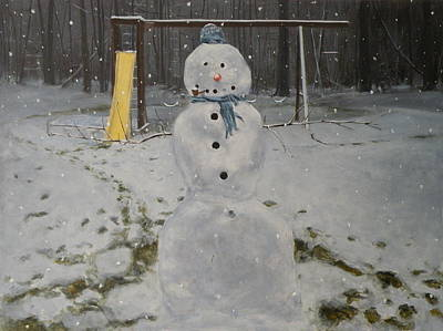 Swingset Painting - Snowman Open Arms by Stephen Remick