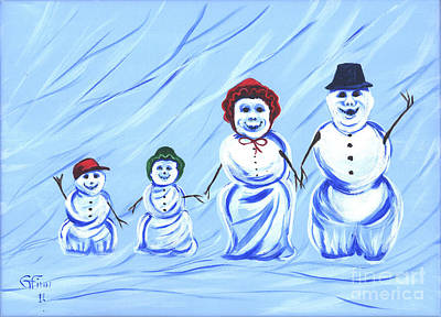Painting - Snowmen In Motion by Gail Finn