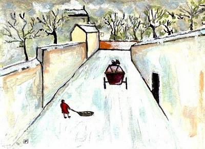 Folk Art Mixed Media - Snowscene by Peter  McPartlin