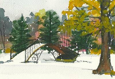 Painting - Snowtober In Elm Park by Lynn Babineau