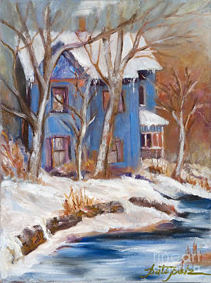 Painting - Snowy Blue House by Pati Pelz