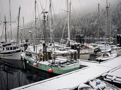 Hornby Island Photograph - Snowy Boats by Derek Holzapfel