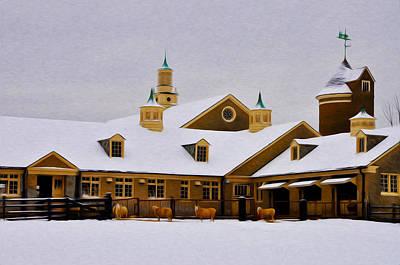 Snowy Day At Erdenheim Farm Art Print by Bill Cannon