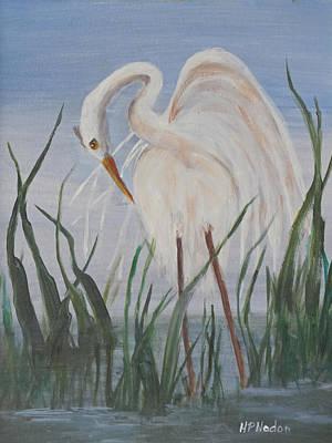 Painting - Snowy Egret by Heidi Patricio-Nadon