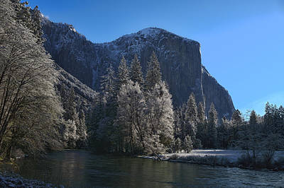 Photograph - Snowy El Capitain And Merced River by Gregory Scott