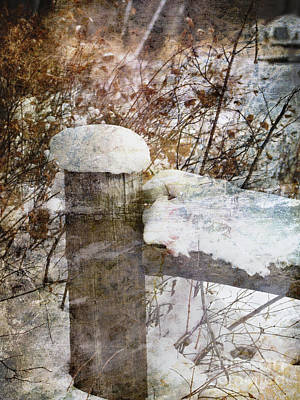 Photograph - Snowy Fencepost by Alyce Taylor