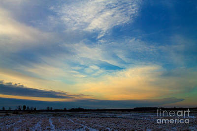 Snowy Field Sunset Art Print by Ursula Lawrence