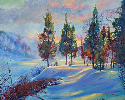 Painting - Snowy Lake Dawn by David Lloyd Glover