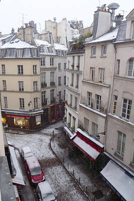 Snowy Morning Paris Latin Quarter Art Print by Amelia Racca