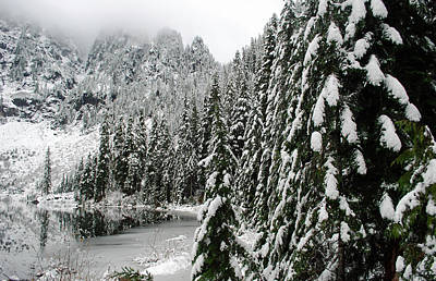 Pilchuck Photograph - Snowy Pines On Lake 22 by Twenty Two North Photography