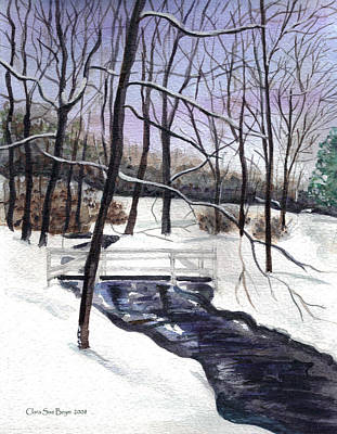 Painting - Snowy Shawnee Stream by Clara Sue Beym