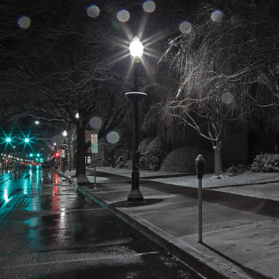 Photograph - Snowy Sidewalk Street Lamp by John Stephens
