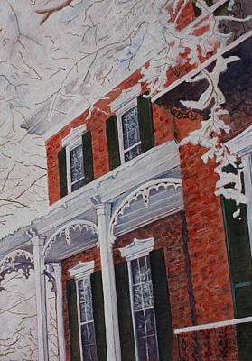 Art Print featuring the painting Snowy Yesteryear by Patsy Sharpe
