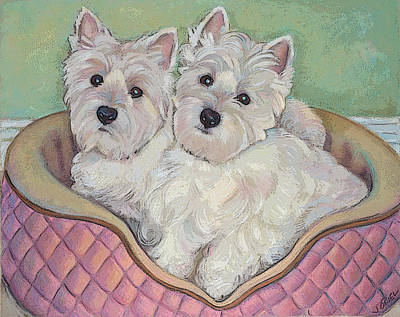 West Highland White Terrier Mixed Media - Snuggle Sisters Note Card by Jane Oriel